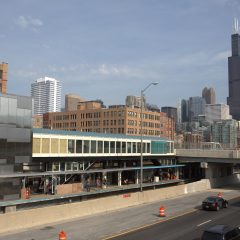 city view from UIC Halsted CTA stop