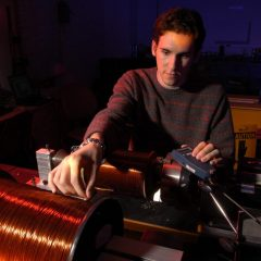 Student works on equipment