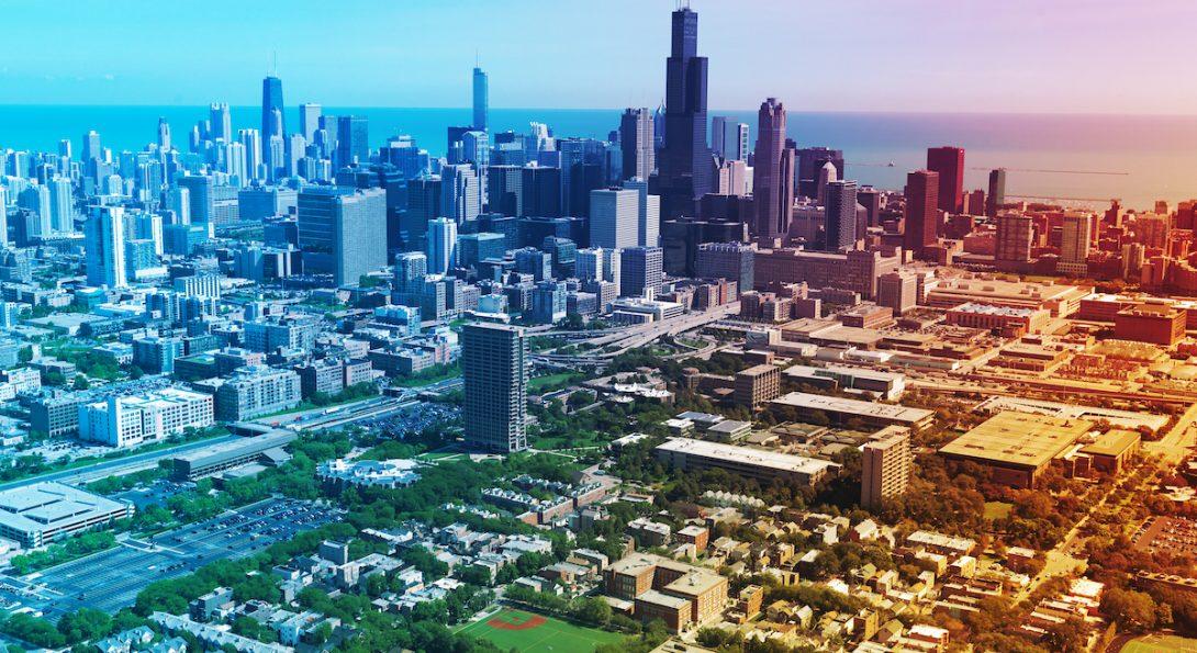 UIC campus and Chicago skyline