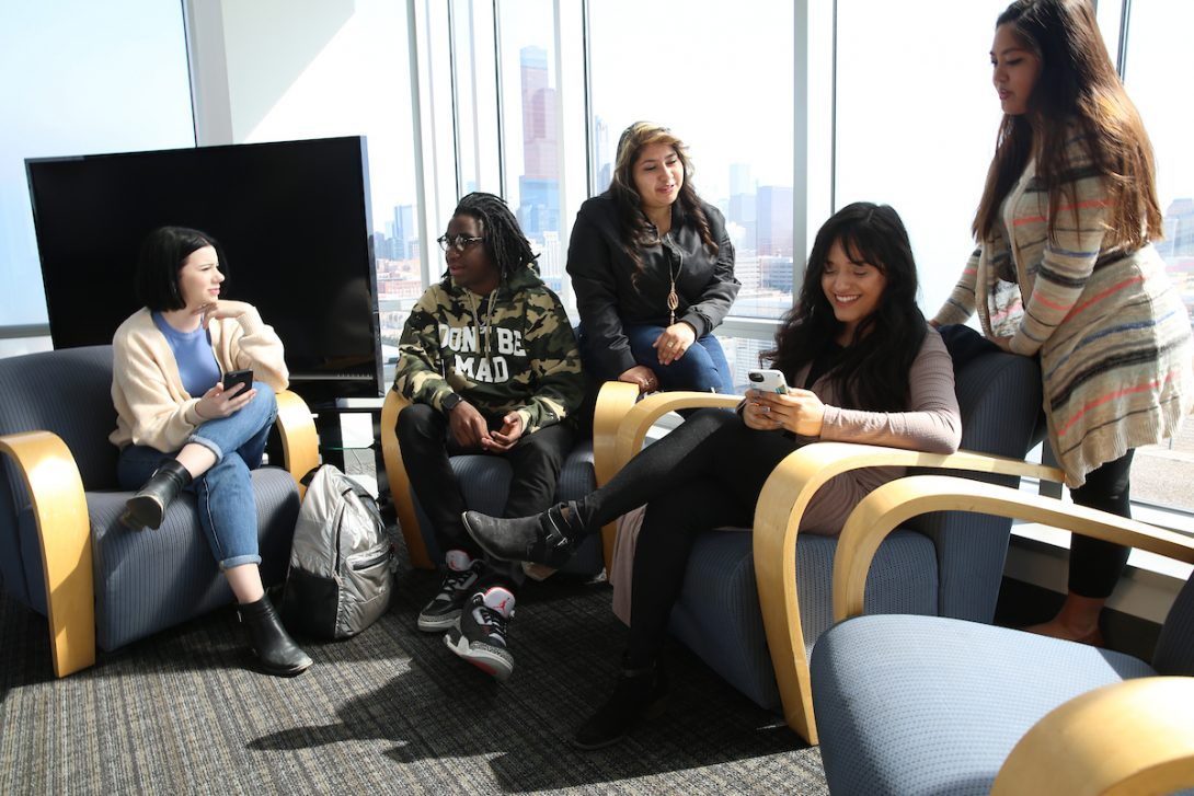 students hanging out in JST tower lounge