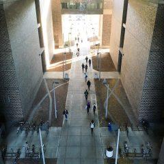 arial view of walkway between buildings with students