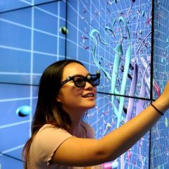 student in visualization lab