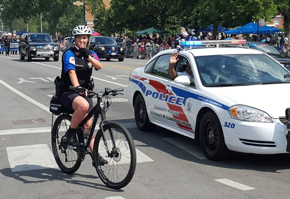 UIC Police on bike and in patrol car
