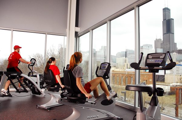 UIC Students workout with view